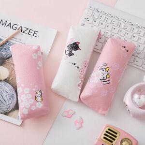 Kawaii Pink Cat  Capacity Canvas Pencil Case Pen Box Girls School Stationery Bag