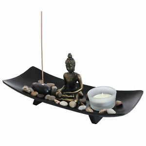 MyGift Zen Garden Buddha Statue with Glass Tealight Candle and Incense Holder