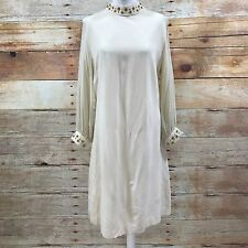 VINTAGE Cream Long Sheer Sleeve Dress Gold Bead Sparkle 60s Size UK 14 16 07336