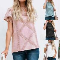Womens Lace Patchwork Flare Ruffles Short Sleeve Cute Floral Shirt Blouse Top AU