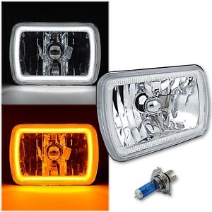"7x6"" Switchback White LED Halo DRL Amber Turn Signal Angel Eye H4 Headlight Each"