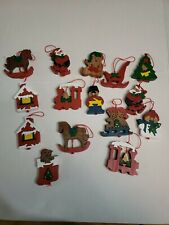 Set of 12 Vintage Wooden Puzzle Christmas Ornaments - hand crafted