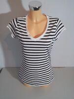 BLIND DATE WOMEN  Shirt  T-Shirt Gr. 34 schwarz - weiß gestreift Kurzarm WIE NEU