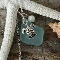 Hand made in Hawaii, Seafoam sea glass necklace, Sea turtle charm, Natural pearl