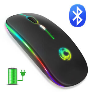 Wireless Mouse Bluetooth Mouse RGB Rechargeable Ergonomic LED Mice For Laptop PC