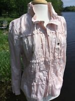 CHICOS Womens Size 2 Pale Pink Ruched Lightweight ZIP Jacket Excellent Condition