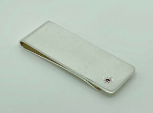Superb English Solid Sterling Silver Money Clip - Set with Ruby - Full Hallmark