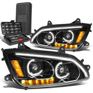 For 2008-2019 Kenworth T170 T370 T660 LED DRL Bar Projector Headlights+Tool Box