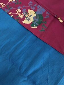 Vintage Blue THAI SILK FABRIC 3 1/3 YDS + Magenta Silk Blend Print 2 Yards