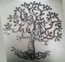 Tree of Life with People and Birds Metal Oil Drums For Sale Haitian Art Work 24""