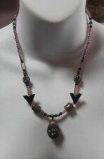 Vintage 925 Sterling Silver Amethyst/Onyx Locket Pendant Charm/Bead Necklace
