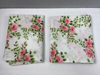 Vtg Pillowcase Set of 2 Standard Pink Roses Floral Bedding Linen