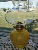 "Vintage Oil Lamp Amber Crackle Base 12.5"" tall"