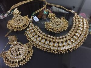 Indian beautiful Bridal Partywear Gold Plated Kundan Necklace Set