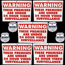 5 Home Store Security Video Camera Yard Warning Signs+Brinks Adt Alarm Stickers