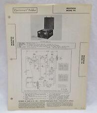 Vintage Photofact Folder Musitron Model PX Radio Parts Manual Record Changer