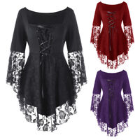 Punk Gothic Victorian Steampunk Lace Stretch Shirt Top Blouse Plus Size