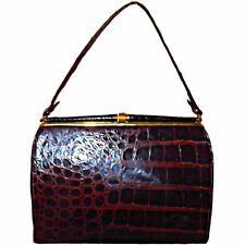 Vintage 1950s Genuine Alligator Crocodile Leather Frame Handbag with Coin Clutch
