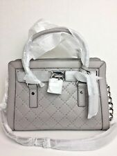 NWT Michael Kors Hamilton Microstud Leather Quilt EW Satchel Tote Pearl Grey
