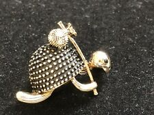 """turtle Brooch pin clear rhinestones gold tone1.5""""x1.25"""" Gift mothers day #1"""