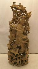 Large Vintage Buddhist Wooden Hand Carved GODDESS STATUE Japanese Detailed #118