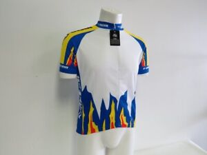 Verge Men's 2XL Short Sleeve Cycling Jersey White Blue Flames New