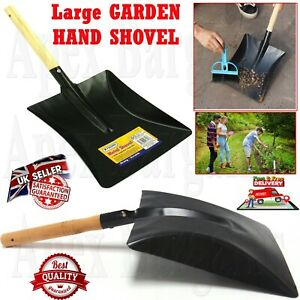 Large Garden Wooden Handle Metal Hand Shovel Planting Digging Dust Coal Leaves