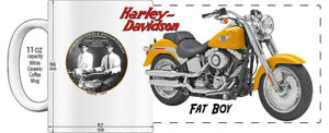 "HARLEY DAVIDSON FAT BOY MOTORCYCLE ""HIGH DETAILED"" IMAGE COFFEE MUG - YELLOW"