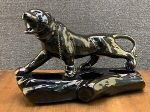 Mid Century Large Black Ceramic Panther TV Planter Hand Painted w/ Jewel Eyes