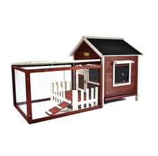 Rabbit Hutch With Run Bunny Cage Enclosure Small Animal Shelter Chicken Coop Hen