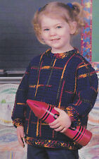 Crochet Pattern ~ GIRLS & BOYS POLO PLAID SWEATER ~ Instructions