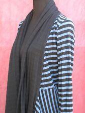 Cut Loose Womens Jacket XS Double Layer Cotton Knit Blue/Black Stripe Excellent