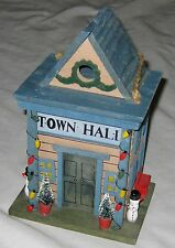 "Blue Brown 10"" Town Hall Cottage Bird House Decoration w Trees Benches Snowmen"