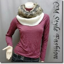 Faux Fur Knitted Neck Warmer Wrap Scarf Snood Off White OS
