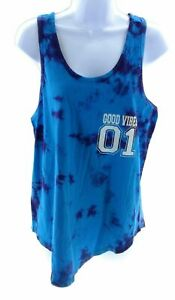 Miss Popular Juniors Active Wear Blue Tie Dye Tank Top Athletic Workout Casual