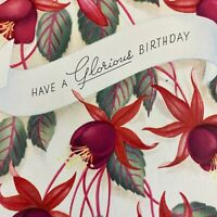 Vintage Mid Century Birthday Greeting Card Fuchsia Red Hanging Flowers Floral