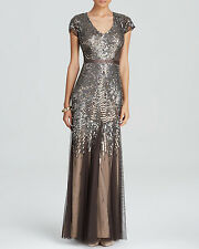 NWT ADRIANNA PAPELL Metallic Beaded Sequin Embellished V-Neck Mesh Gown Dress 10