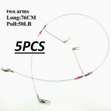5X Wire Trace Leader Rig Stainless Steel 2 Arm Fishing Rigs Tackle Lure Swivel