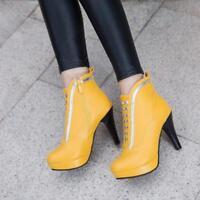 Punk Womens Ladies Round Toe Zipper High Heels Stilettos Ankle Boots Shoes Pumps