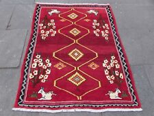 Traditional Tribal Hand Made Persian Gabbeh Oriental Red Wool Rug 162x126cm