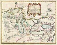 Map Antique Bellin 1755 New France Great Lakes Large Repro Canvas Art Print