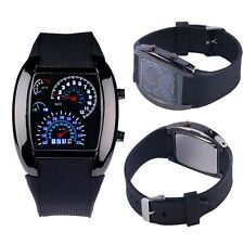HOT Cool Men RPM Turbo Sport Watch Car Speed Meter Dial Flash LED Wrist Watch DB