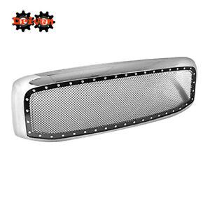 For 06-08 Dodge Ram 1500/2500/3500 Rivet Style Mesh Grille ABS Plastic Chrome