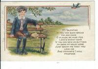 CH-051 Boy on Bench, My Valentine Whitney Made Divided Back Postcard