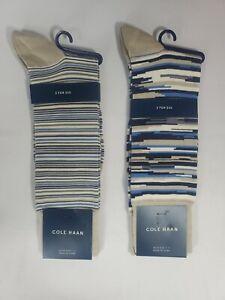 Cole Haan Multi Stripe Cotton Blend 2 Pair Crew Dress Socks 7-12, NWT, MSRP $25