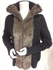 Women's DKNY Cardigan Sweater Gray Cotton & Alpaca Faux Fur Collar & Trim Sz LG