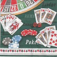 2 Serviettes papier Jeu de cartes jeton Casino Decoupage Paper Napkins Card Game