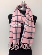 100% CASHMERE SCARF WRAP MADE IN SCOTLAND PLAID DESIGN SOFT Warm Wool, Pink/teal