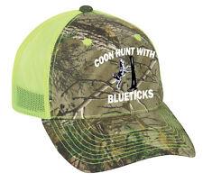 Cap Hat Camo neon Yellow Mesh Raccoon Coon Coonhound Hunter Hound Dog Bluetick