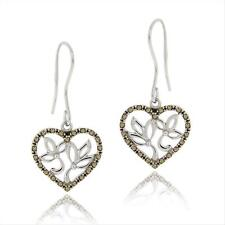 925 Silver Marcasite Filigree Heart Dangle Earrings